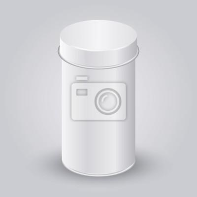Макет белой пустой упаковки консервная банка. Чай, кофе, сухие продукты, коробка подарка. Поместите свой дизайн.