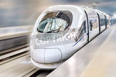 Картина Современные Привет-Speed пассажирском поезде. Движение эффект.