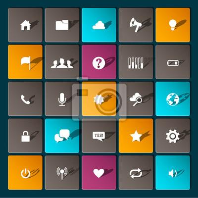 Современные информационные иконки для мобильных устройств и интерфейсов