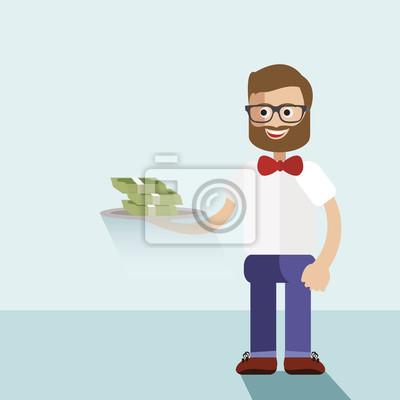 Деньги концепция векторные иллюстрации .Businessman выступающей пачку банкнот на тарелку.