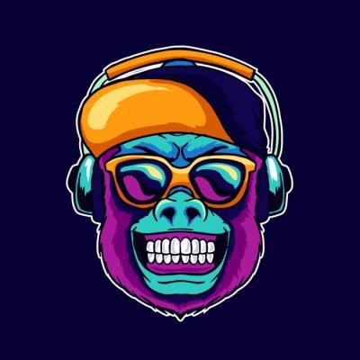 Картина Monkey smile wear cool glasses and cap hat listening dope music on the headphone speaker vector illustration. Pop art color style animal gorilla head logo design for creative DJ sound producer studio.
