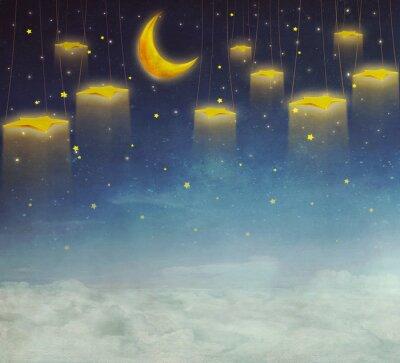 Картина Луна и звезды на веревке в ночном небе