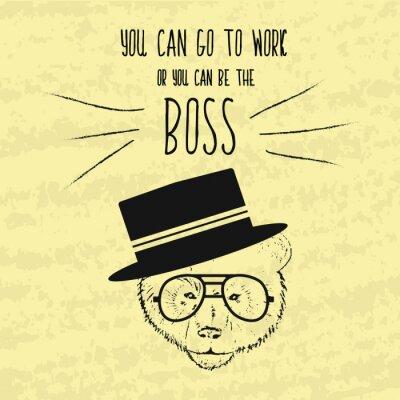 Картина Мотивационная ретро ручной рисунок плакат для достижения целей с мудрыми фразами о боссу и бизнеса. Ручная роспись Вектор