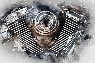 Картина Мотоцикл двигатель крупным планом. Цифровая акварель.