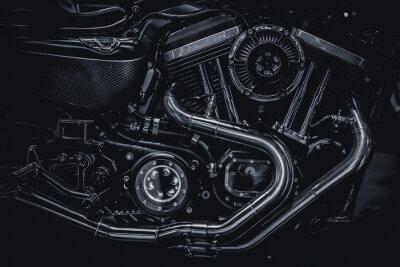 Картина Мотоцикл двигателя выхлопных труб двигателя художественная фотография в черно-белом старинный тон