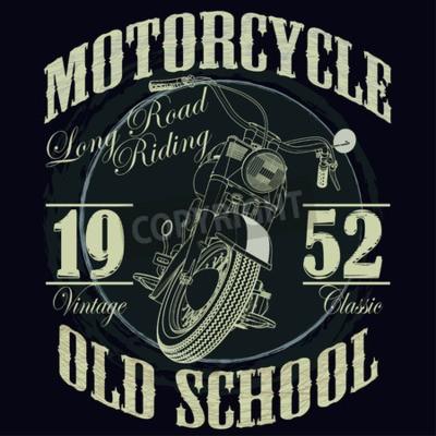 Картина Мотоцикл гонки Типография Графика. Старый школьный велосипед. Футболка дизайн, векторные иллюстрации