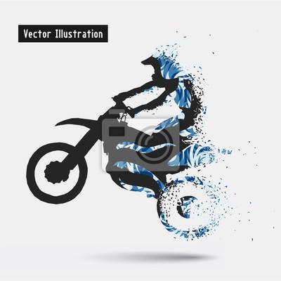 Мотоциклисты. Вектор eps10 illusration. Частица расходящимся композиция