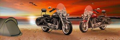 Картина Мотоцикл, велосипед на пляже на закате вечером