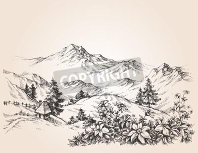 Картина Горы пейзаж эскиз