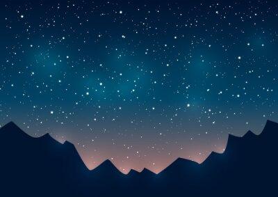 Картина Горы силуэты на фоне звездного
