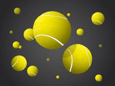 Картина Перемещение Теннисные мячи летят, падение изолированные на темном фоне.