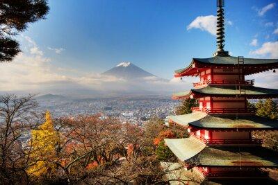 Картина Гора Fuji с цвета осени в Японии.