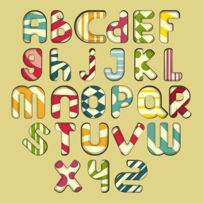 Картина разноцветные полосатые алфавит