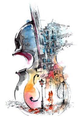Картина музыка и город