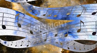 Картина музыку к сведению и исследованию космического пространства и звезды с abstrtact цвет фона