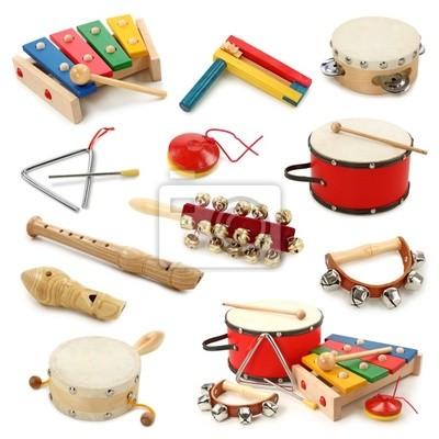 Музыкальные инструменты коллекция на белом фоне
