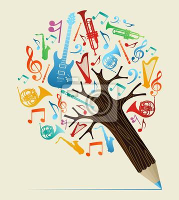Музыкальные исследования концепция карандаш дерево