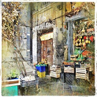Картина Наполи, Италия - старые улицы с небольшой магазин, художественную картину