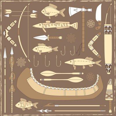 Картина Родные элементы американского дизайна рыбалка