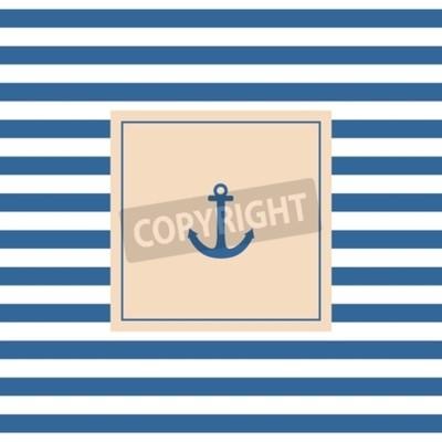 Картина Навигационный вектор карты или приглашение с якорем фоне пастель и синими белыми полосами