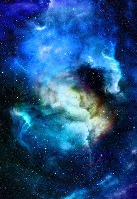 Картина Туманность, космическое пространство и звезды, синий космический фон. Элементы этого изображения, предоставленную NASA.