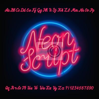 Необычный шрифт алфавита. Красные неоновые прописные и строчные буквы и цифры. Рисованный векторный шрифт для ваших заголовков или любой типографский дизайн.