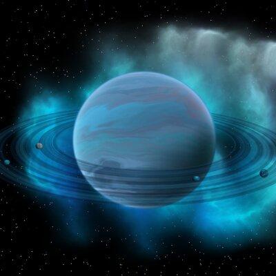 Картина Нептун планета - Нептун восемь планет в нашей Солнечной системе и имеет планетарные кольца и большое темное пятно, показывающее, шторм на его поверхности.