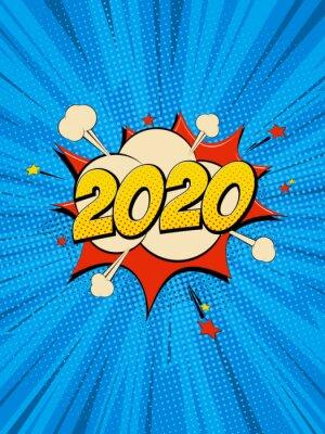 Картина New Year 2020 pop art comic background lightning blast halftone dots.