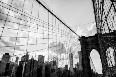 Картина Нью-Йорк, Бруклинский мост, панорама черный и белый