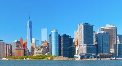 Картина Нью-Йорк нижнем Манхэттене финансовый район Уолл-стрит здания Skyline на прекрасный летний день с синим небом