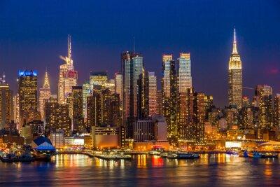 Картина New York City Manhattan midtown buildings skyline night