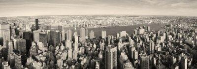 Нью-Йорка Манхэттена панорама с высоты птичьего полета