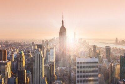 Картина Нью-Йорк Манхэттена горизонты в закат.