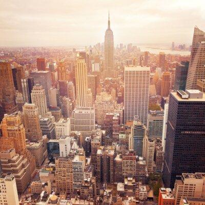 Картина Нью-Йорк горизонта с ретро эффект фильтра, США.