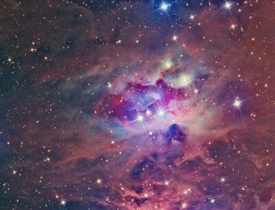 Картина NGC 1973 Туманность Бегущий человек визуализируют с помощью телескопа и научной ПЗС-камеры