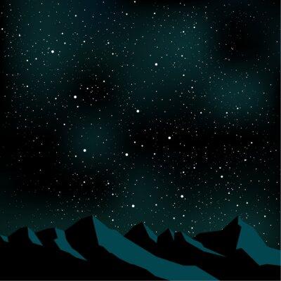 Картина Ночное небо звездами, горный пейзаж, векторные иллюстрации