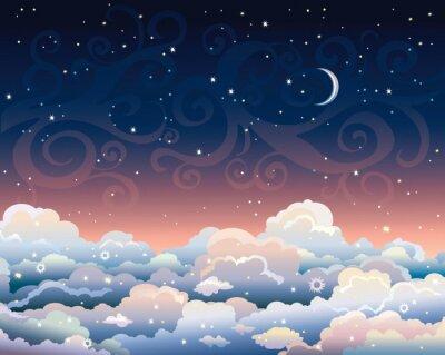 Картина Ночное небо с облаками и луной.