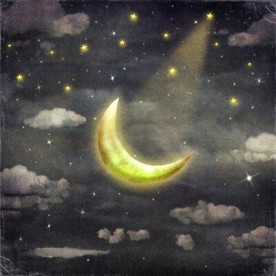 Картина В ночное время со звездами и луной