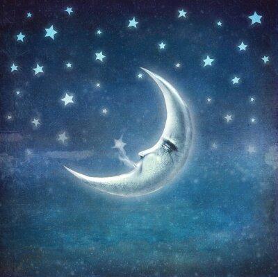 Картина В ночное время со звездами и луной, фон