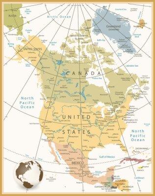 Картина Северная Америка Подробная карта цветов Ретро