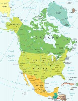 Картина Северная Америка карта - очень подробные векторные иллюстрации.