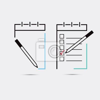 Ноутбук, значок блокнота. Вектор eps10. Пиктограмма примечания.