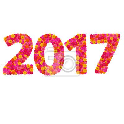 Цифры 2017 года сделаны из циннии цветов