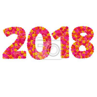 Цифры 2018 года сделаны из циннии цветов
