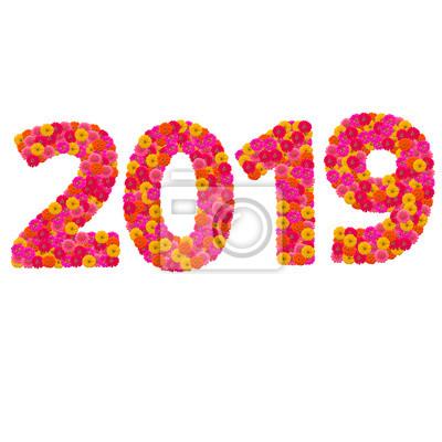 Числа 2019 сделаны из циннии цветов