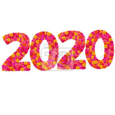 Числа 2020 сделаны из циннии цветов