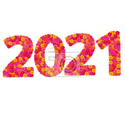 Числа 2021 сделаны из циннии цветов