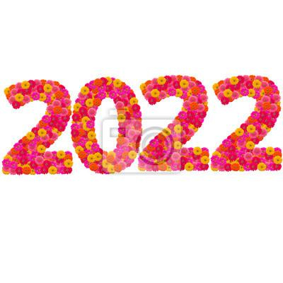 Числа 2022 сделаны из циннии цветов