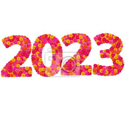 Числа 2023 сделаны из циннии цветов