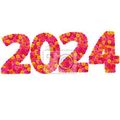 Числа 2024 сделаны из циннии цветов